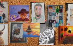 A collage of AGHS students' favorite art pieces made in 2020 hanging all together
