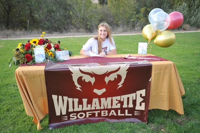 Kahlia Jensen officially signed to Willamette University.