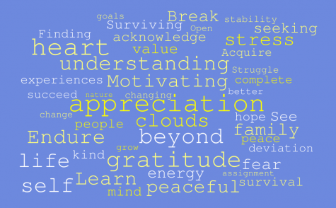Word cloud featuring common words among AGHS students