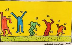 A recreated version of Keith Haring's 'Untitled (Dance) 1987' to get readers excited about dancing to the new music they may find through this article