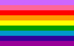 The original pride flag, produced by Gilbert Barker for the San Francisco Gay Freedom Day celebration.