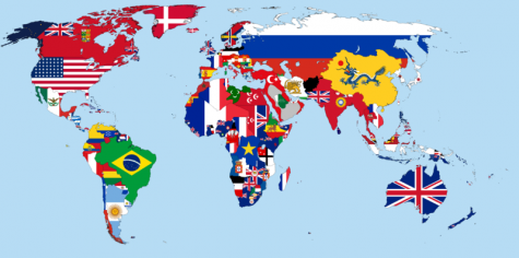 Map of the World made out of flags, demonstrating the size of the world and number of countries in comparison to America.