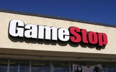 Photo of the GameStop logo.