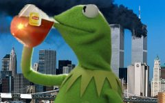 Kermit T. Frog sipping tea infront of the twin towers